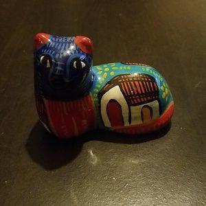 Vintage Mexican Mini Talavera Cat Figurine